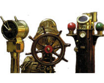 Marine Antiques such as Telegraph, Steering Column, Binnacle's Compass